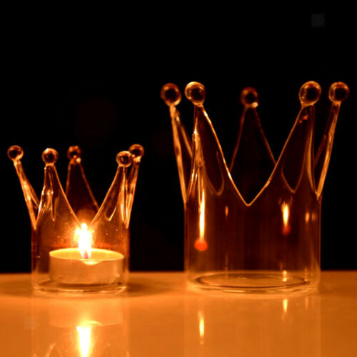 Crown Crystal Glass Candle Holder Wedding Bar Party Home Decor Candlestick