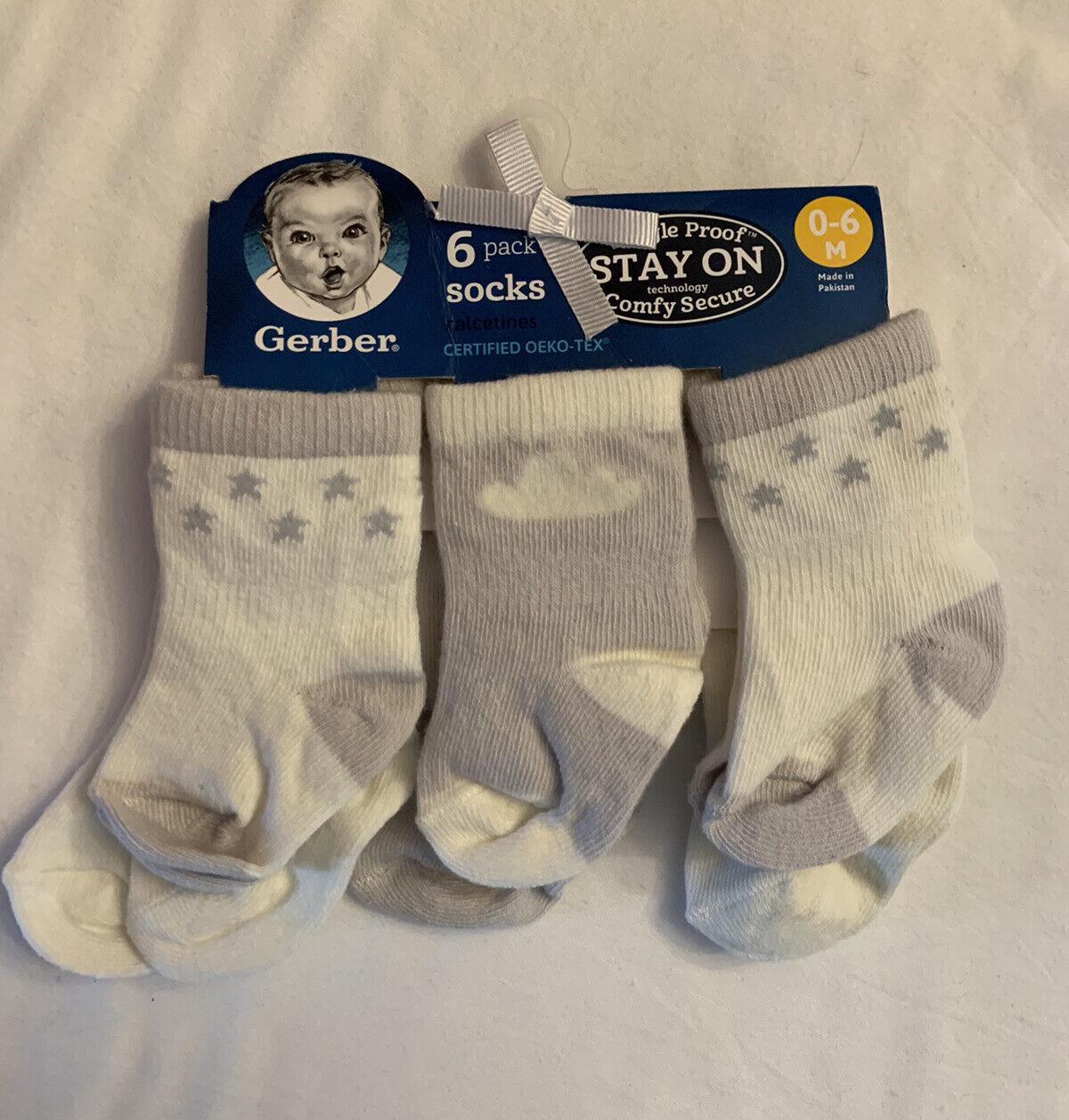 Baby boy girl socks size 6-12 months 2-pack anti-slip stars grey set unisex new