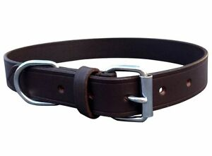 HAND-CRAFTED-BROWN-SOFT-REAL-LEATHER-DOG-COLLAR-TRAINING-MEDIUM-LARGE-SPANIEL