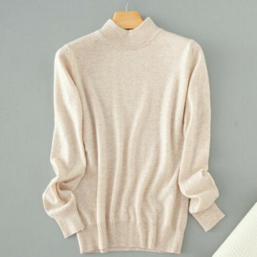 Womens Turtleneck Sweater Casual Knitwear Pullover Winter Warm Tops Jumpers
