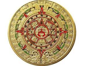 Medalla De Oro Moneda Color De Colores Maya Calendario Aztecas Disco