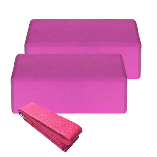3PCS Yoga Blocks Foam EVA Brick And Yoga Strap Stretch Belt Exercise Prop Fitnes