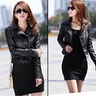 2016 NEW Womens Sexy Winter Slim Biker Motorcycle PU Leather Jacket Zipper Coat