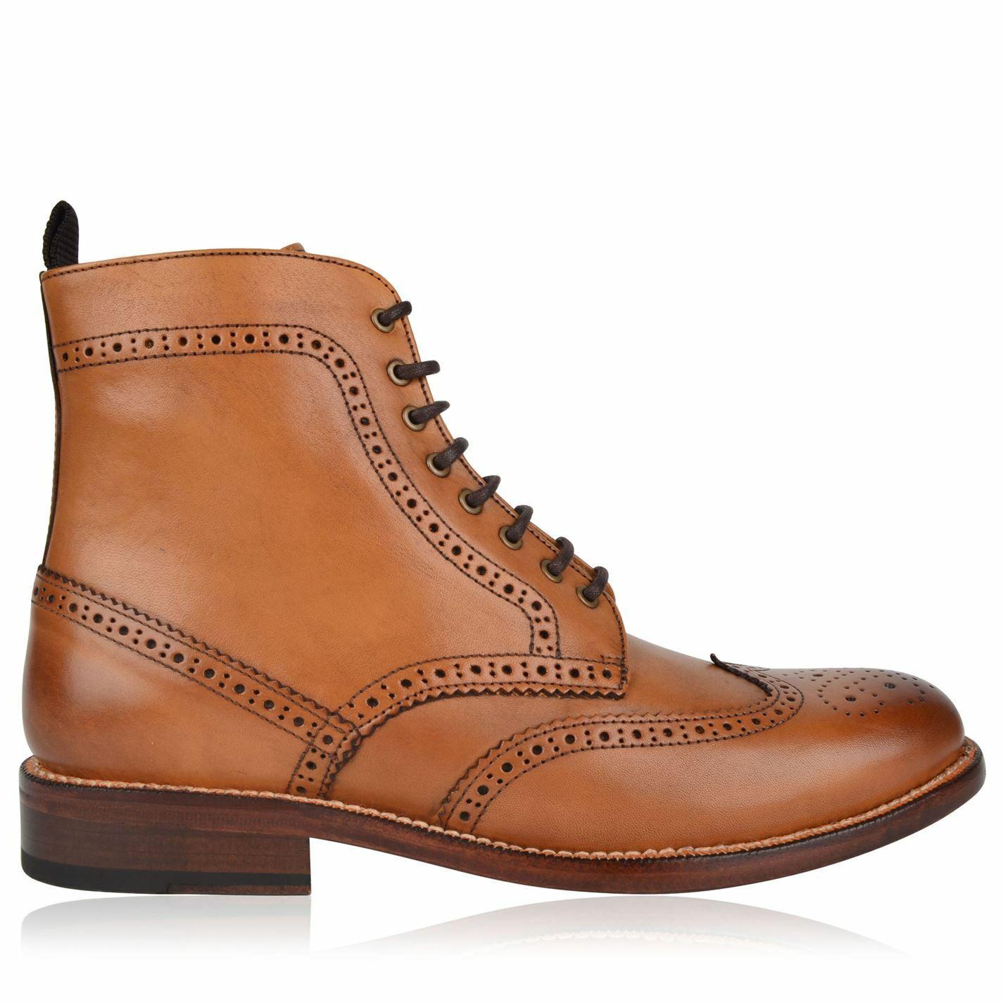Mens Full Circle Brogue Boot Formal Boots shoes New