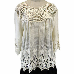 e579df0bdb1fe NEW XCVI Plus Size Open Mesh   Lace Knit Cotton Lagenlook Tunic ...