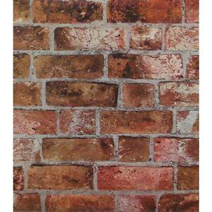 Image Is Loading Red Orange Brick Wallpaper Embossed Textured Vinyl Rust