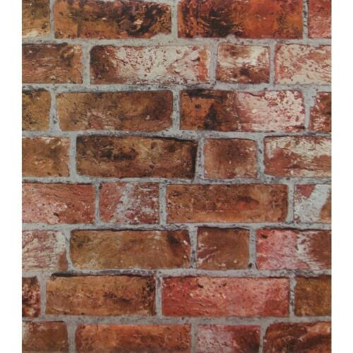 Red Orange Brick Wallpaper Textured  Rust Bricks Stones 55 sq ft ROLLHE1046