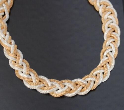 Statement Halskette Kette Collier Geflochten Gold Silbert Kollier Blogger