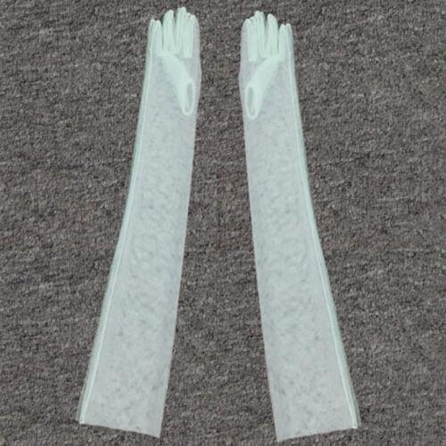 1 Paire Sheer Tulle Long Gants Dentelle Semi Sheer Mariée Mariage GANTS Photo partyn