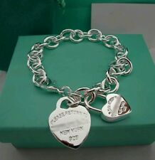 2 Heart & Chain Bracelet Bangle - 925 Stamped Silver christmas lady men gift bag