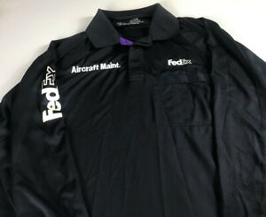 FedEx-Long-Sleeve-Polo-Shirt-Mens-2XL-Dri-Fit-Aircraft-Maintenance-Front-Pocket