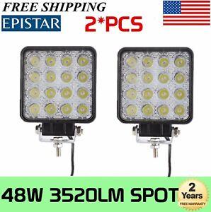 2X-48W-Square-LED-Work-Light-12V-24V-Off-Road-Spot-Lamp-For-Car-Truck-SUV-Motor