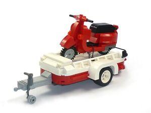 100% Vrai Custom Brick Scooter Vespa Avec Remorque Moc En Blocs Lego Par Exemple Pour