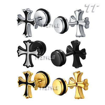 TTstyle Surgical Steel CZ Round Fake Ear Plug Earrings 3 Colour Available