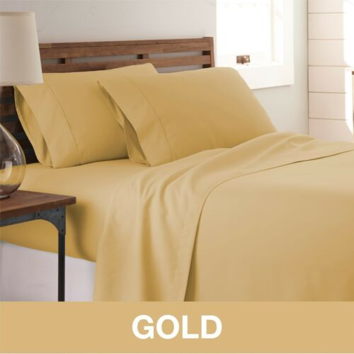 Premium Hotel Quality 4 Piece Bed Sheet Set   11 Designs Solid Queen Gold |  EBay