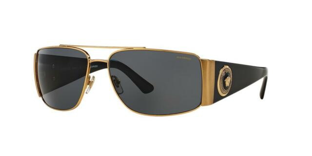 8f04a01403457 Versace Mens Genuine Sunglasses Gold Brown Glass Lens Shades 63mm Polarized
