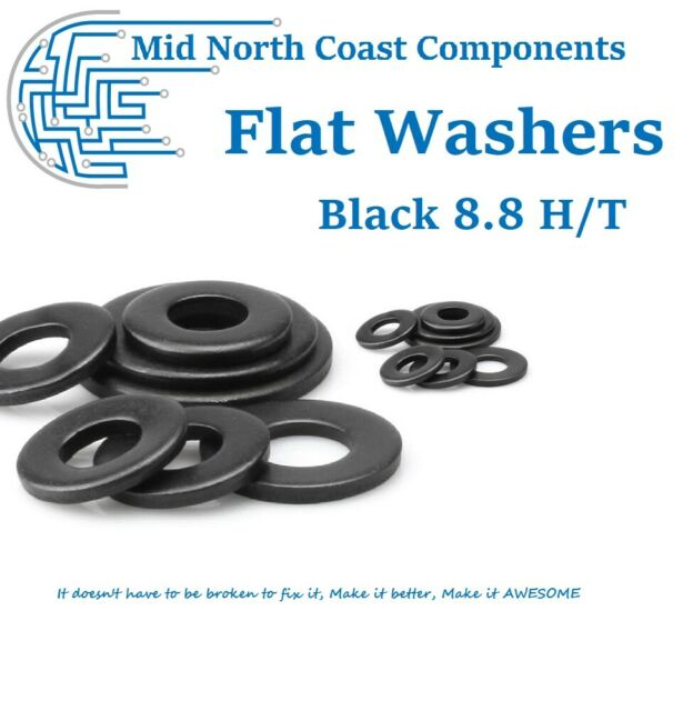 M2 M2.5 M3 M4 M5 M6 Black Oxide Flat Washers 8.8 H/T Carbon Steel Metric Sizes