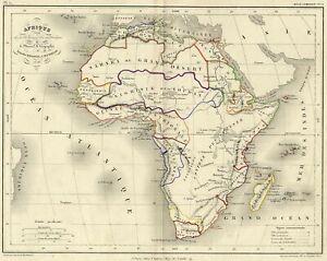 Afrique-Carte-geographique-ancienne-gravure-originale-XIXeme-sicele
