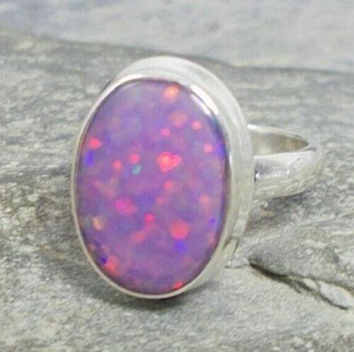 925 Pink//Purple FIRE OPAL Ring Sz L,M,N,O,P R191~Silverwave*uk Jewellery