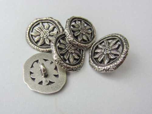 5 altsilberfarbene métal costumes Boutons avec Edelweiss /& percée 0670as