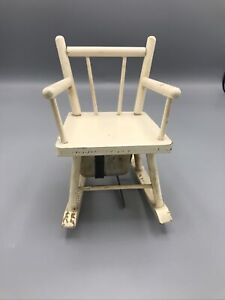 Vintage White Wood Rocking Chair Music Box - Rock A By Baby - Chair Rocks