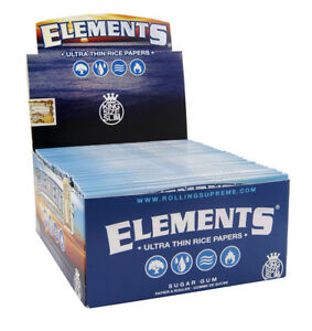1-Box-50x-Elements-King-Size-slim-Papers-Blattchen-aus-Reis-Rolling-Papers