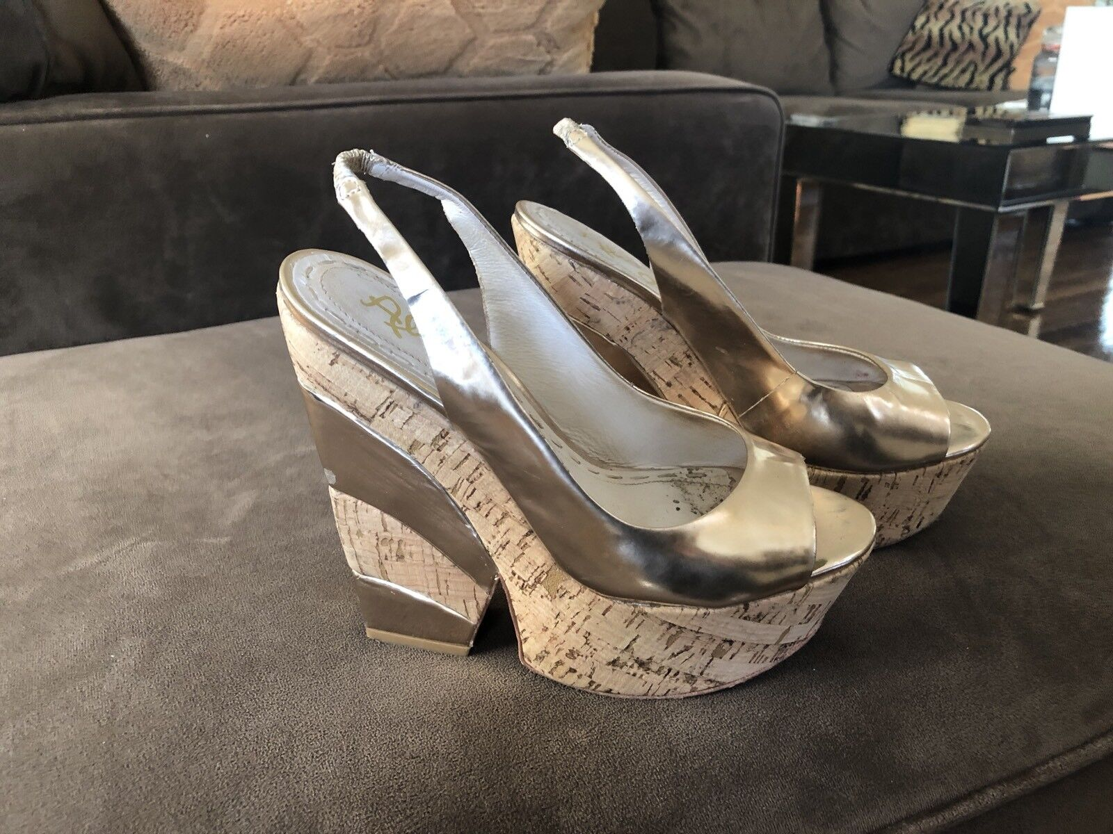ALICE + OLIVIA platform wedge Mirrorosso oro Cork. sz37
