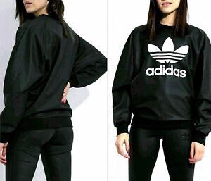 bd36577178a2 LARGE adidas Women s WET LOOK TREFOIL SWEATSHIRT   3-STRIPES TONAL ...