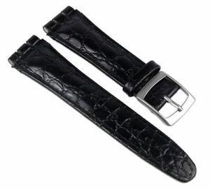 Minott-Ersatzband-Uhrenarmband-Leder-Band-Schwarz-passend-zu-Swatch-Uhren