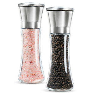 Salt-and-Pepper-Grinder-Set-of-2-Glass-Body-Brushed-Steel-Ceramic-Mills