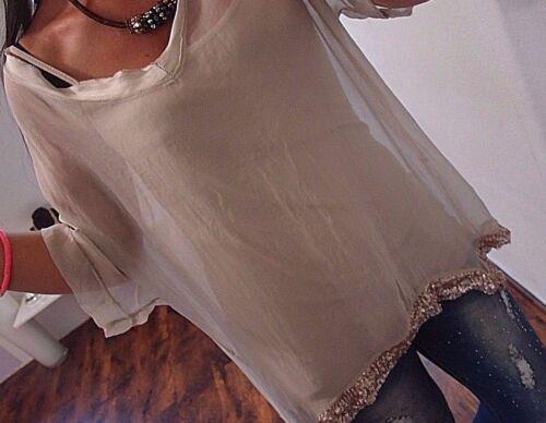 Tunika Seide Trend Edel Glitzer Italy 42 Top Bluse 44 2tlg Blogger Neu Paillette FnYd7dq