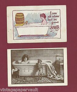 TWO RISQUE POSTCARDS / BATH TIME BATHING BEAUTIES VINTAGE 1905-1907 UNUSED