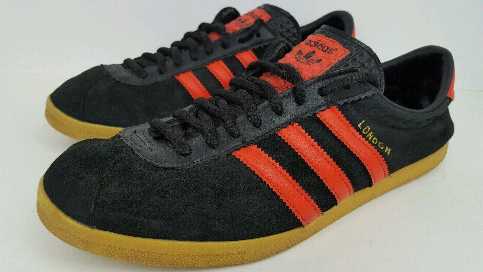 Adidas originali uomini dimensioni 11,5 londra velluto di nero arancione a strisce di velluto scarpe 2df1b7