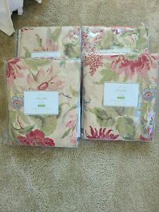 Pottery Barn 4x Marla Floral Linen Drapes Curtains 50 X 96