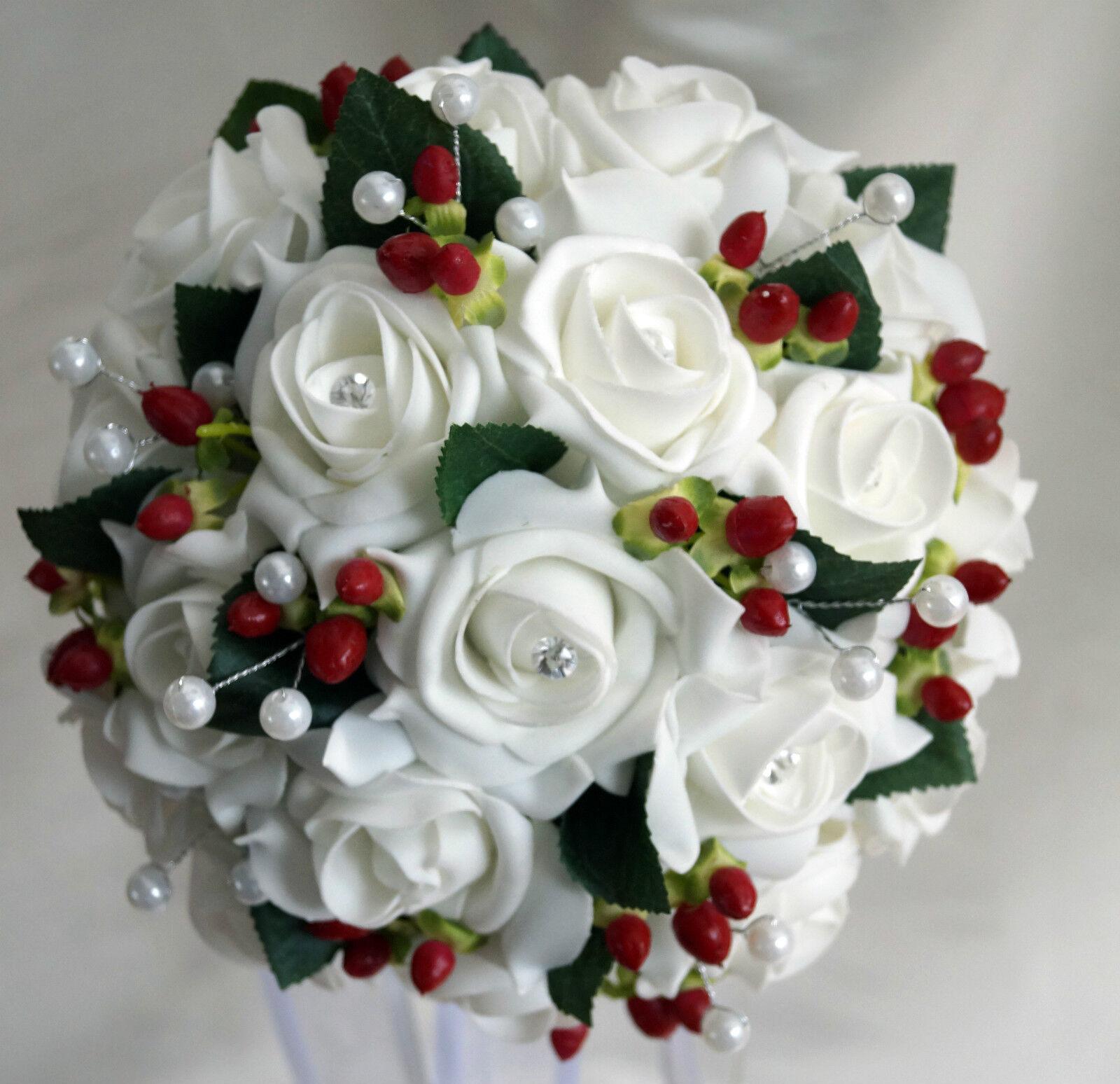 Brides Posy BOUQUET bianca o avorio avorio avorio con rosa   BACCHE ROSSE INVERNO MATRIMONIO   SPOSA Xmas f3ca78