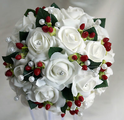 Brides posy bouquet  White or ivory roses/ red berries Winter Wedding/Xmas Bride