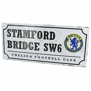 Chelsea-FC-Retro-Football-Metal-Rue-Signe-Neuf-Officiel