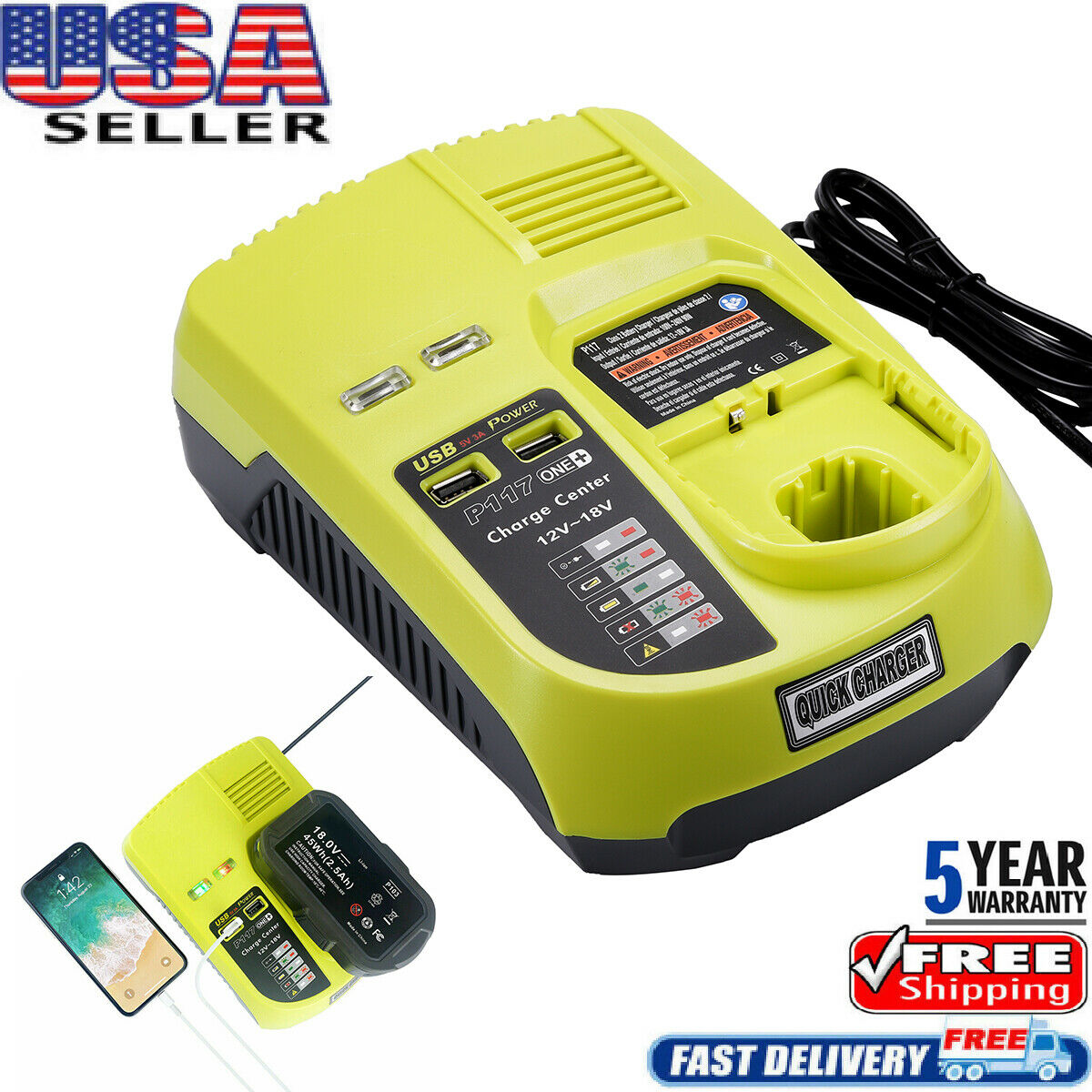 battery Genuine Ryobi P117 fast charger for all types 18V One For 220V 240V