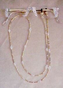 SASSY-READING-GLASSES-CRYSTAL-AB-GOLD-READERS-with-MATCHING-CHAIN