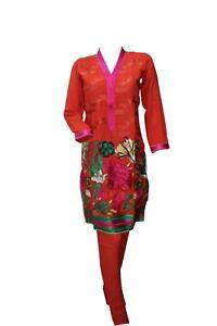 Indian-Pakistani-Shalwar-Kameez-Salwar-Saree-Suit-Dress-Wedding-Designer-Orange