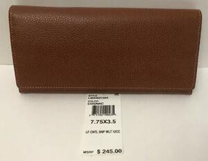 Details about NWT!!Longchamp Veau Foulonne leather Checkbook Wallet In  Cognac MSRP $245