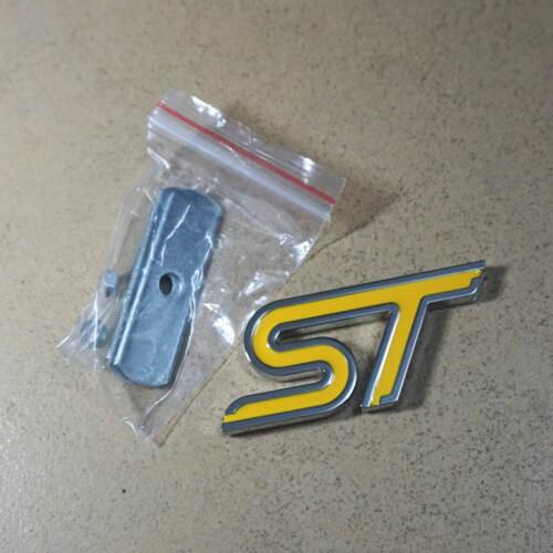 1PC Yellow ST Big Metal Grille Badge Emblem 3D focus Racing Rs Motors Sport Car