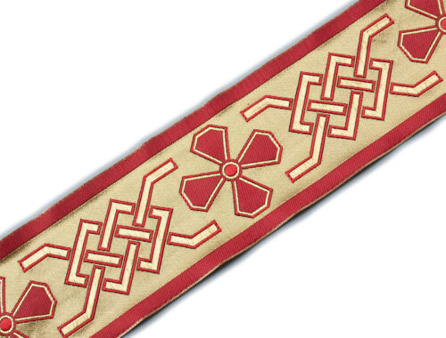 "Wide, Jacquard, Vestment Trim. Celtic Theme Gold, Red 3¾"" wide, 3 Yards"