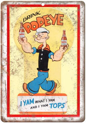 "Drink Popeye Soda Vintage Comic Art Ad 10/"" X 7/"" Reproduction Metal Sign J229"