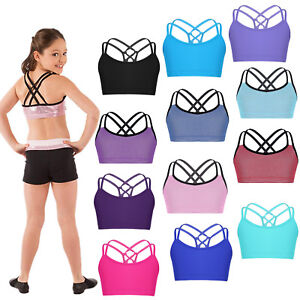 Girls-Childrens-Dance-Gym-Sports-Strap-Back-Crop-Top-Ballet-Dance-Gymnastics-Top