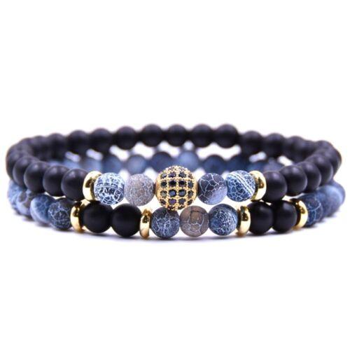 Partner Bracelet Pierre Naturelle Noir Bleu Perles Couple