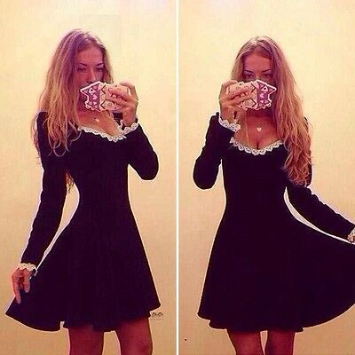 Women Sexy Lace Long Sleeve Winter Casual Party Cocktail Skater Mini Black Dress