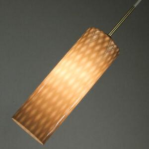 Glas-Kolben-Pendel-Leuchte-Messing-Montierung-vintage-Lampe-50er-60er-Jahre-alt