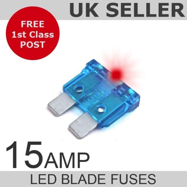 LED 15A Amp Standard Blade Fuses *Quantity 10*