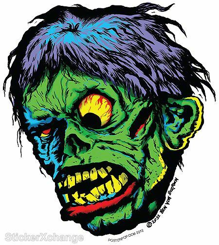 Shock! Monster Head Sticker Decal Ben Von Strawn BV29